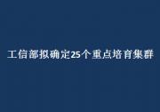 """工信部拟确定25个重点培育集群 """"十四五""""先进制造业集群发展蓝图酝酿待出"""