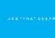 """山东省""""十四五""""安全生产规划"""