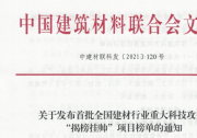 """全国建材行业重大科技攻关""""揭榜挂帅""""项目榜单首次发布"""